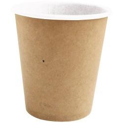 1000 Gobelets en carton brun 100% biodégradables 10 cl