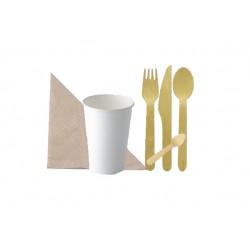 Pack couverts et gobelets en carton blanc