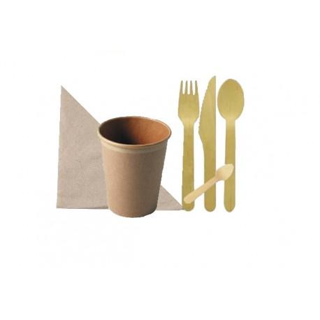 Pack couverts et gobelets en carton brun